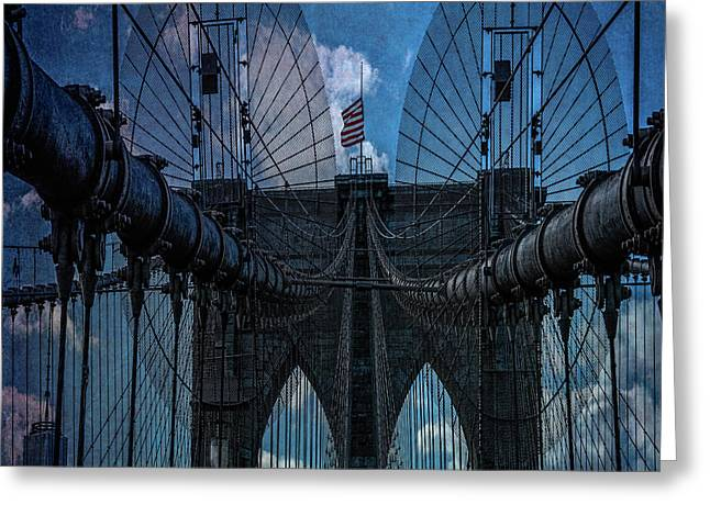 Greeting Card featuring the photograph Brooklyn Bridge Webs by Chris Lord