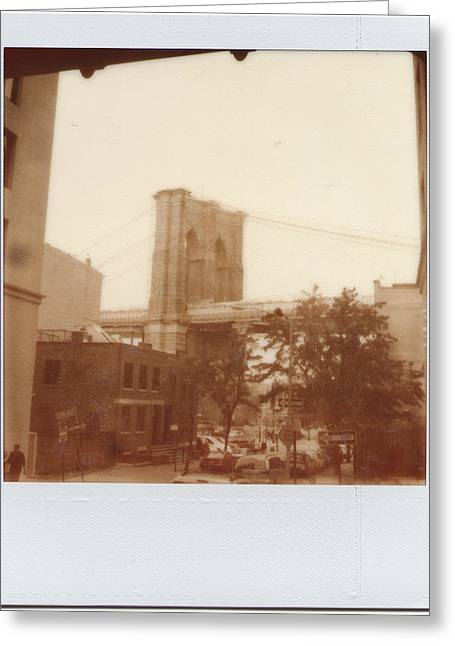 Brooklyn Bridge With Ip Px100 Film Greeting Card by Julie VanDore