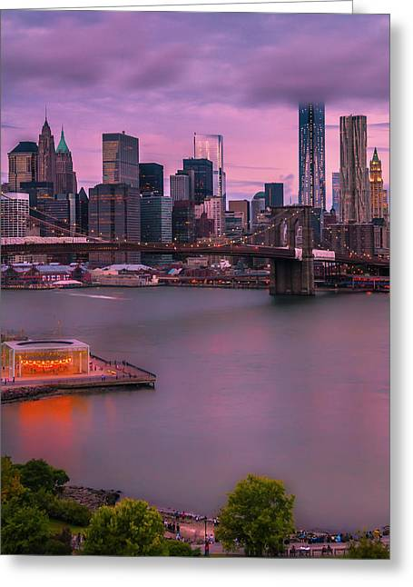 Brooklyn Bridge World Trade Center In New York City Greeting Card