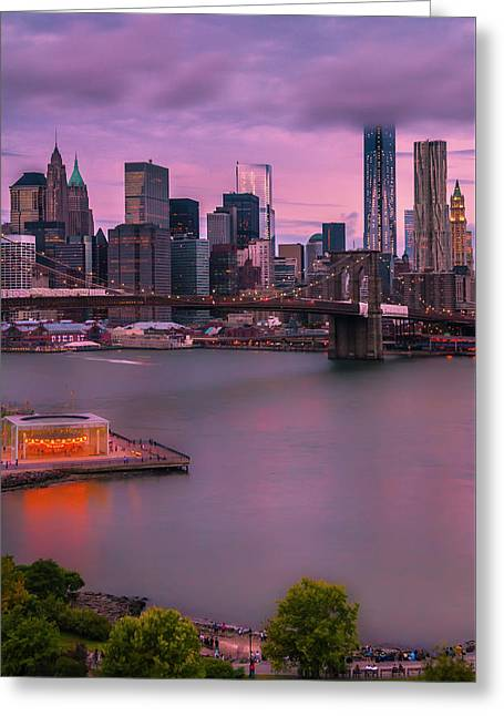 Greeting Card featuring the photograph Brooklyn Bridge World Trade Center In New York City by Ranjay Mitra