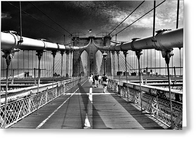 Brooklyn Brige Greeting Card by Andrew Dinh