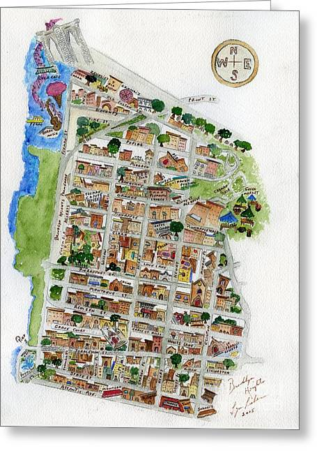 Brooklyn Heights Map Greeting Card