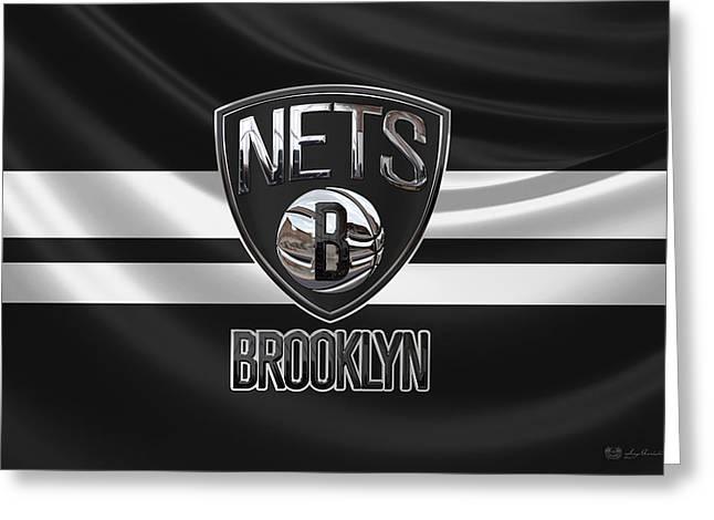 Brooklyn Nets - 3 D Badge Over Flag Greeting Card by Serge Averbukh