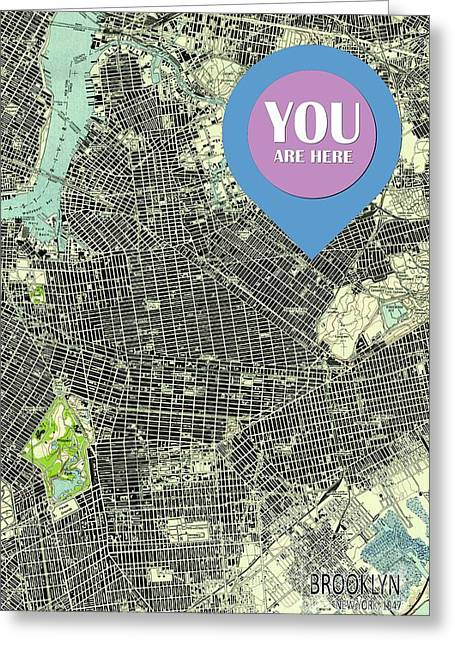 Brooklyn New York 1947 Old Map You Are Here Greeting Card