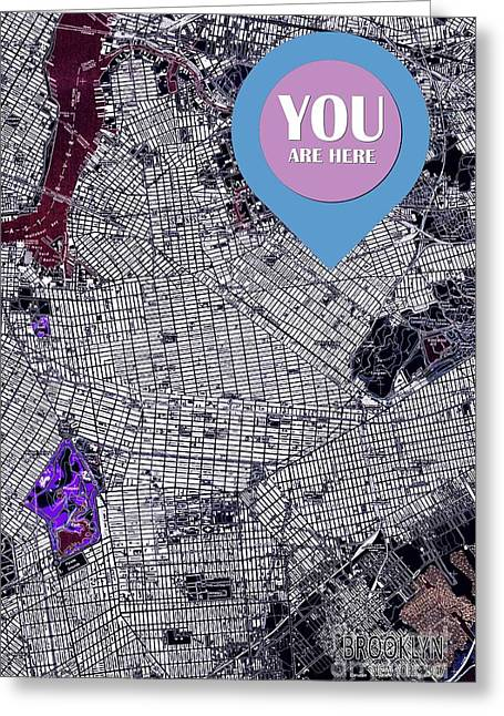 Brooklyn New York 1947 You Are Here Sign Greeting Card by Pablo Franchi