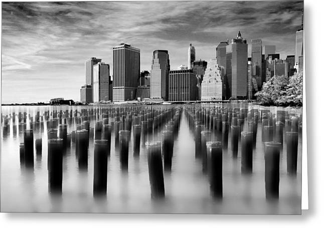 Brooklyn Park Pilings Greeting Card by Jessica Jenney