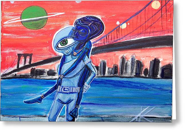 Greeting Card featuring the painting Brooklyn Play Date by Similar Alien