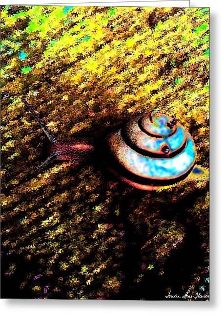 Greeting Card featuring the digital art Brooklyn Snail by Iowan Stone-Flowers