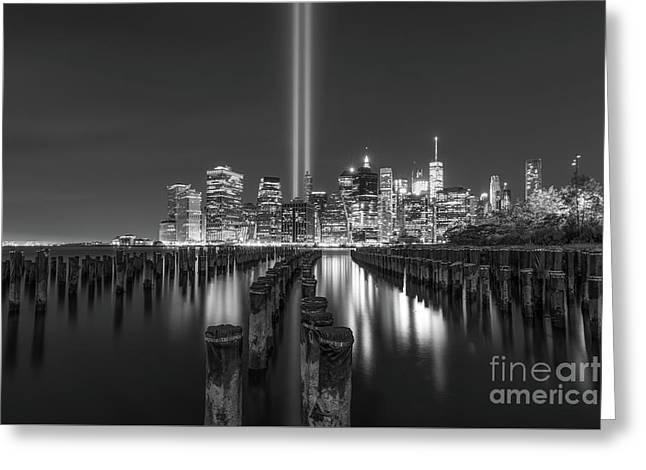 Brooklyn Sticks September 11th Memorial Bw Greeting Card by Michael Ver Sprill