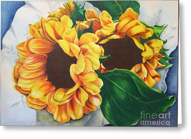 Greeting Card featuring the painting Brooklyn Sun by Angela Armano
