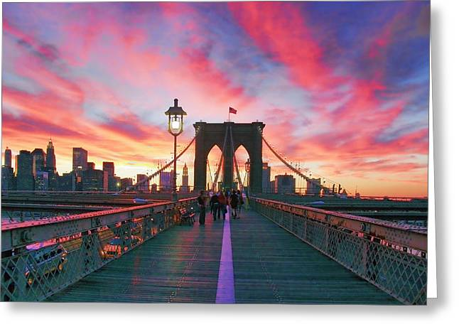 Brooklyn Sunset Greeting Card by Rick Berk