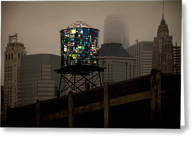 Greeting Card featuring the photograph Brooklyn Water Tower by Chris Lord
