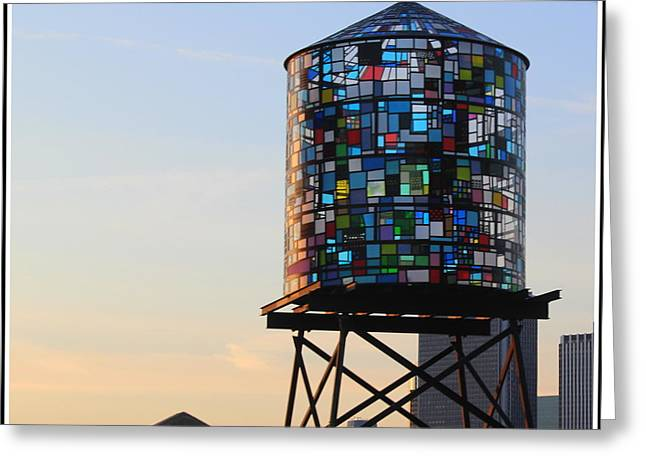 Brooklyn's Glowing Glass Water Tower - Public Art Greeting Card