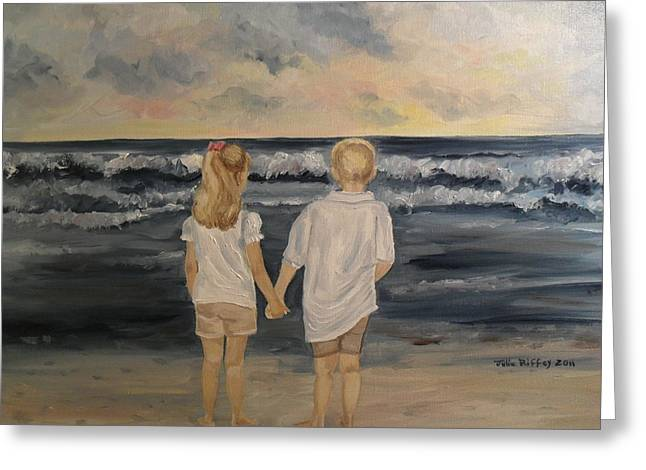 Greeting Card featuring the painting Brother And Sister by Julie Brugh Riffey