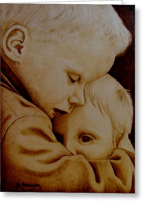 Woodburnings Pyrography Greeting Cards - Brotherly Love Greeting Card by Jo Schwartz
