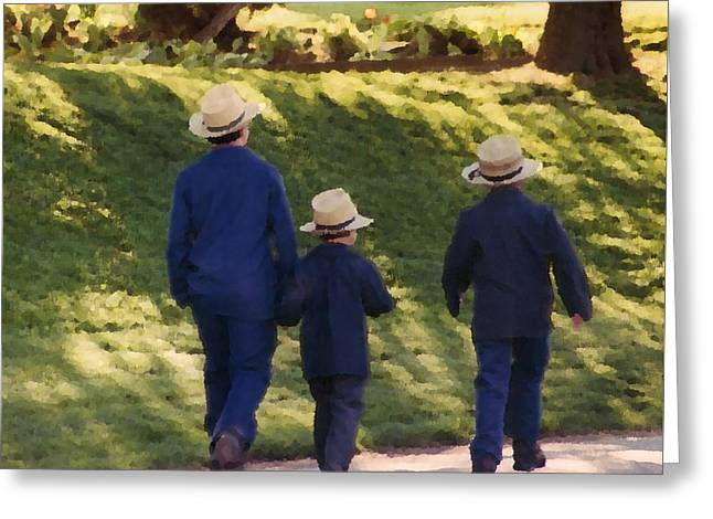 Brothers Amish Greeting Card by Danny Craig