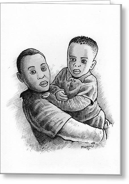 Brothers Greeting Card by Anthony Mwangi