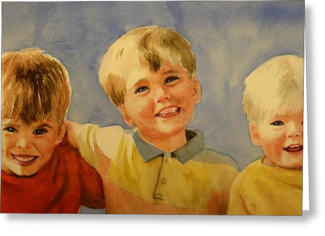 Greeting Card featuring the painting Brothers by Marilyn Jacobson