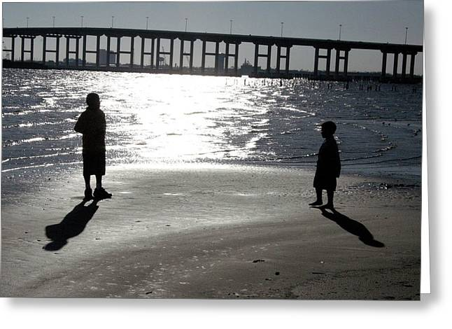 Brothers -- Shadows And Silhouette Greeting Card by Cora Wandel