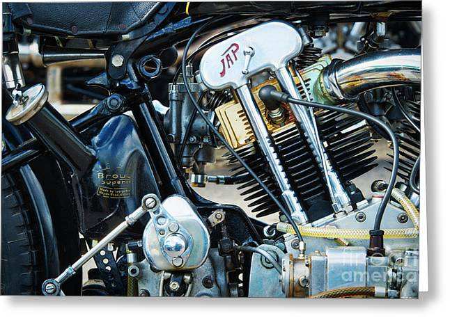 Brough Superior Jap Engine Greeting Card by Tim Gainey