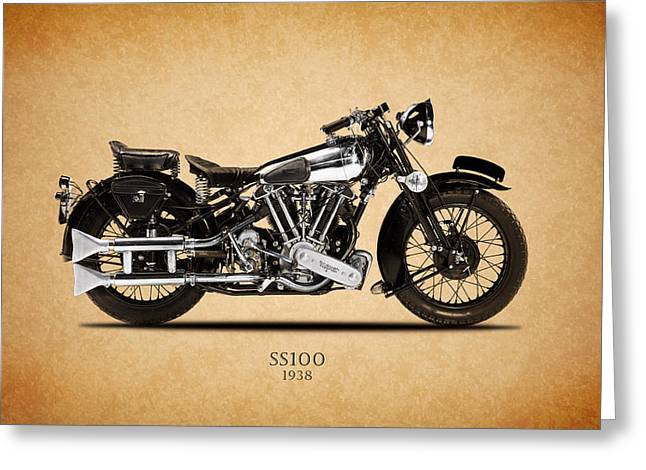 Motorcycle Greeting Cards - Brough Superior SS100 1938 Greeting Card by Mark Rogan