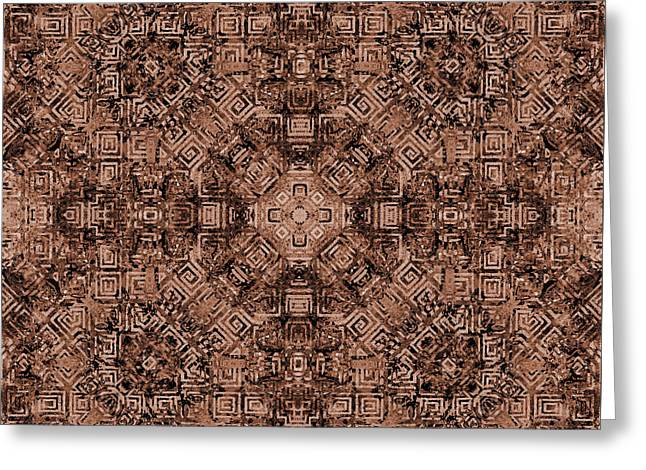 Brown Abstract Kaleidoscope Greeting Card by SharaLee Art