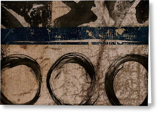 Brown And Blue Vibe Greeting Card by Carol Leigh