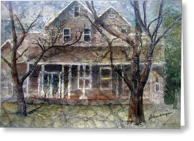 Brown Batik House Greeting Card by Arline Wagner