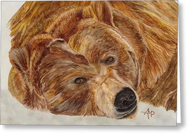 Brown Bear Greeting Card by Angeles M Pomata