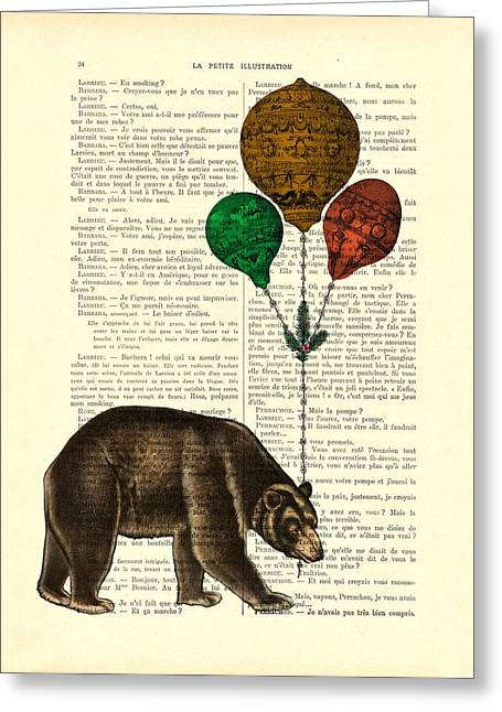 Brown Bear With Balloons Greeting Card by Madame Memento