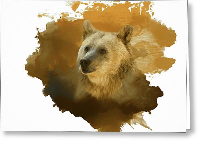 Greeting Card featuring the painting Brown Bear by Steven Richardson