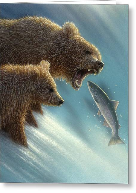 Brown Bears - Fishing Lesson Greeting Card