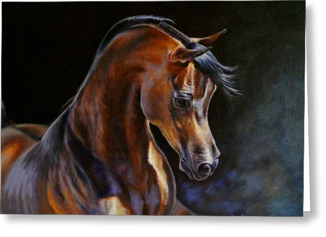 Brown Beauty - Arabian Stallion Greeting Card by Anna Franceova