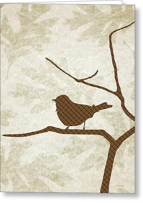 Brown Bird Silhouette Modern Bird Art Greeting Card
