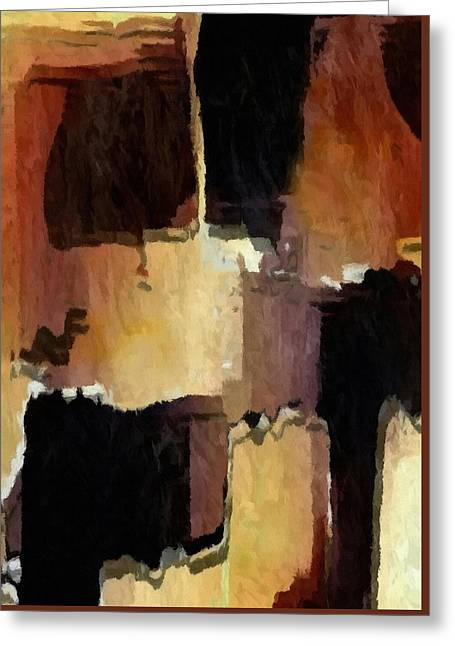 Brown Black Block Abstract Greeting Card by Delynn Addams