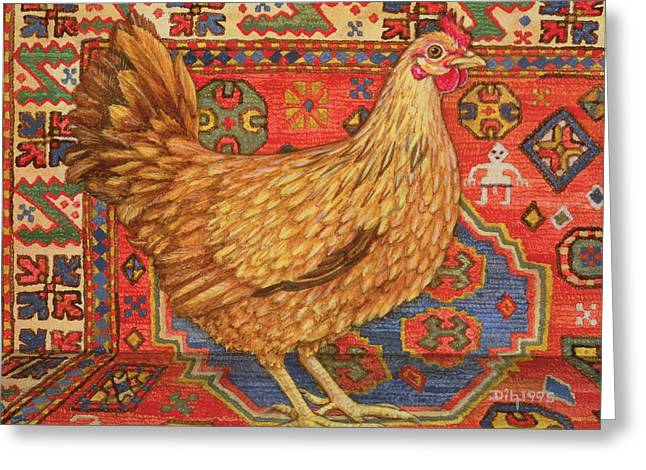 Brown Carpet Chicken Greeting Card by Ditz