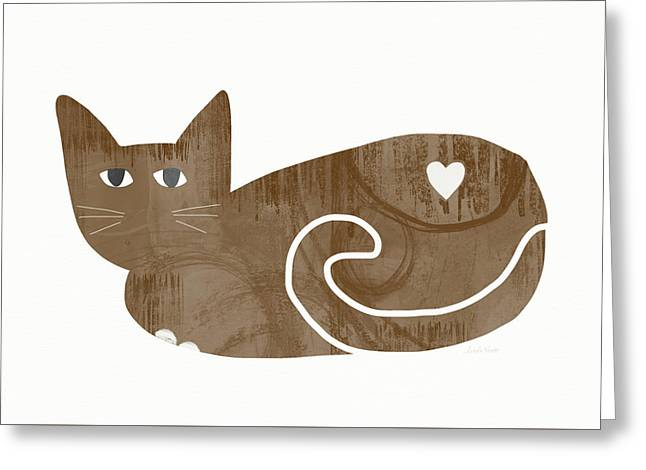 Brown Cat- Art By Linda Woods Greeting Card