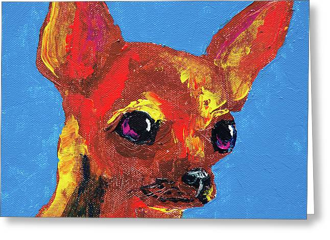 Brown Chihuahua Greeting Card by Corey C McNabb