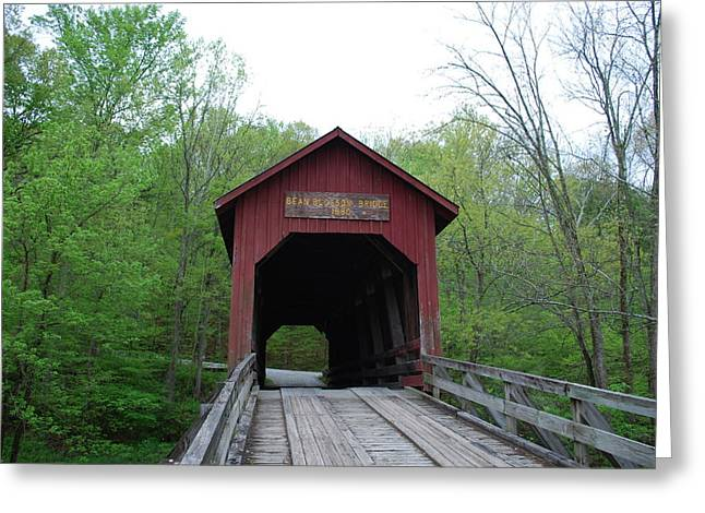 Brown County Covered Bridge Greeting Card by Beverly Cazzell