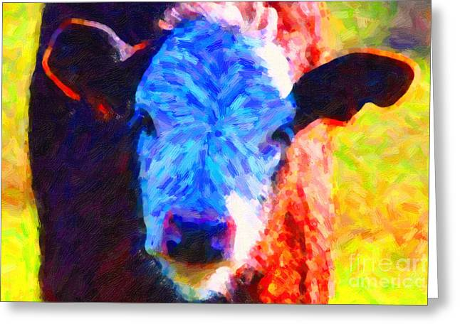 Brown Cow . Painterly Greeting Card by Wingsdomain Art and Photography