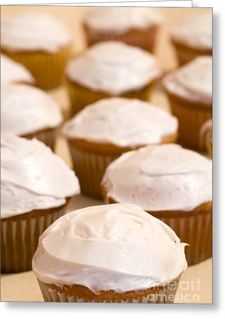 Brown Cupcakes With White Frosting Greeting Card