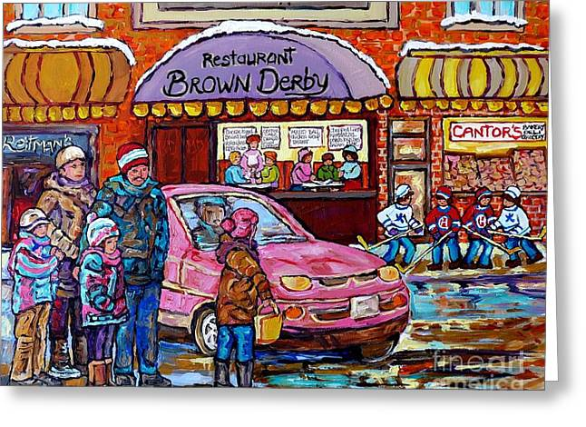 Brown Derby Van Horne Shopping Centre Canadian Hockey Art Painting Montreal 375 Carole Spandau       Greeting Card by Carole Spandau