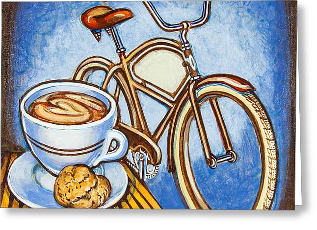 Brown Electra Delivery Bicycle Coffee And Amaretti Greeting Card by Mark Jones