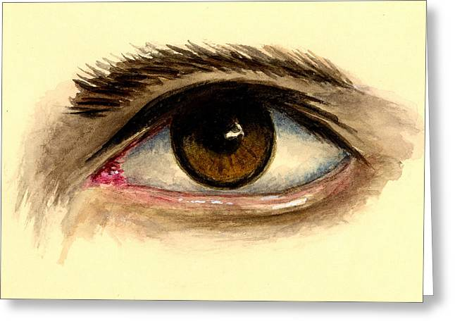 Brown Eye Greeting Card by Michael Vigliotti