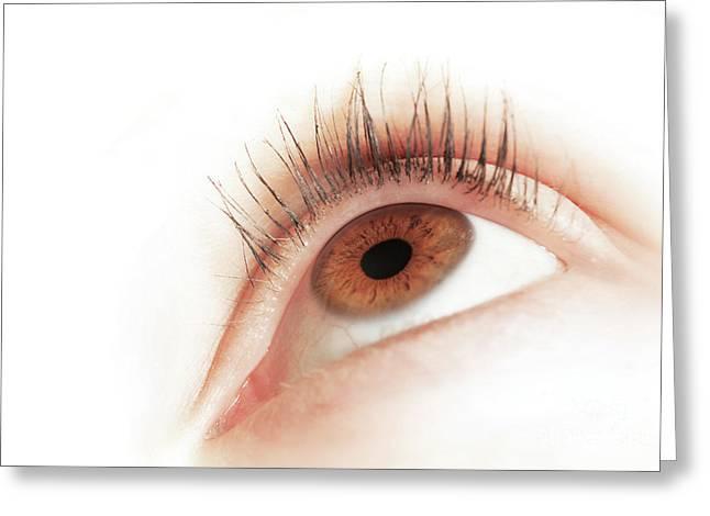 Brown Eye Of A Young Woman Looking Up. Focus On Iris Greeting Card by Michal Bednarek