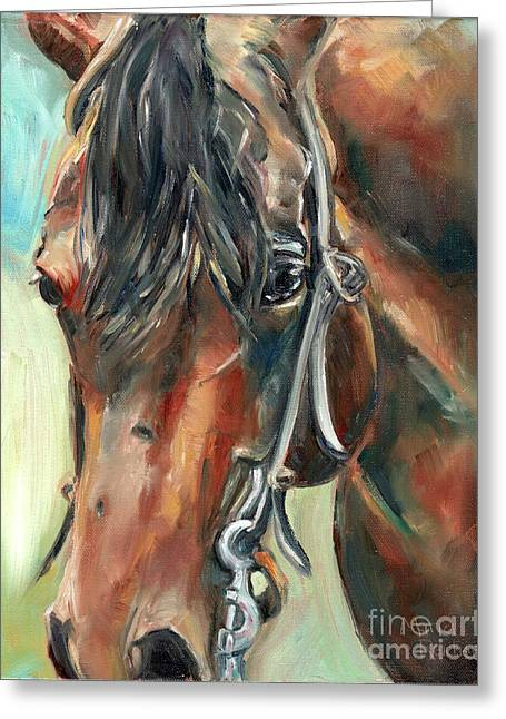 Brown Horse Head Greeting Card by Maria's Watercolor