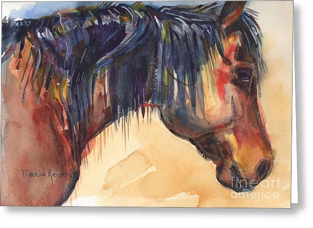 Brown Horse Watercolor Art Greeting Card by Maria's Watercolor