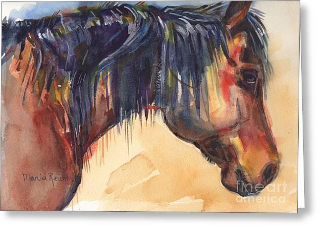 Brown Horse Watercolor Art Greeting Card