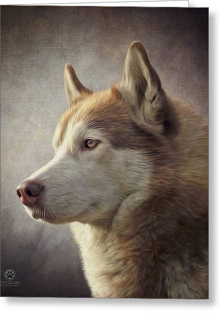 Brown Husky Greeting Card by Andy's Paw Prints