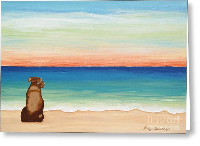 Brown Lab Dog On The Beach Greeting Card
